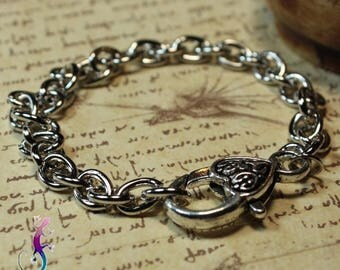 4 bracelets with heart clasp 20cm silver metal mesh
