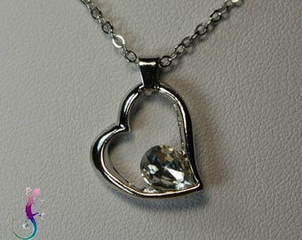 Chain + A191 white Crystal heart pendant