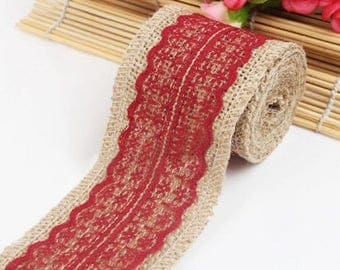 1 meter Ribbon canvas of burlap and Red lace