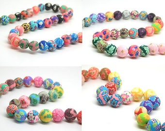 set of 15 beads 12 mm polymer clay