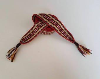 Hand woven belt, color orange, 70,8 inch long by 1.38 inch wool yarn