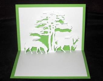 Card Kirigami Savannah 3D wild horses