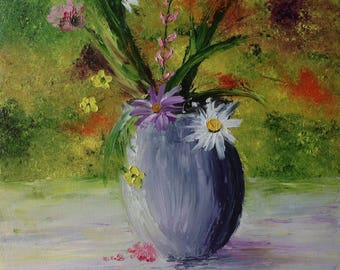 """""""Country bouquet"""" palette knife oil painting"""