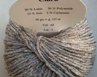 5 balls cashmere, wool and silk /gris/ made in FRANCE