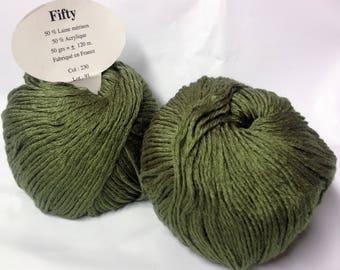 10 balls 50% Merino Wool / 230 khaki / made in FRANCE