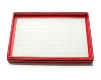 Raspberry red ring tray display for 36 nine rings