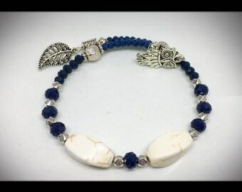 chic ethnic silver bracelet cobalt blue and ivory