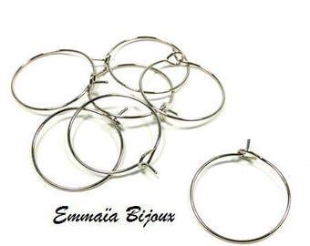 6 hoops silver 20 mm