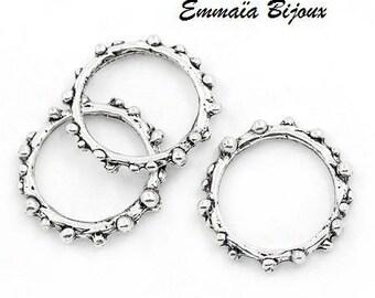 7 rings in silver metal 18 mm