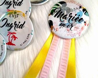 Bachelorette party Kit: 1 roundel 6 badges (56 mm diameter) Bachelor bachelorette party