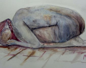 watercolor the pain of women in the world