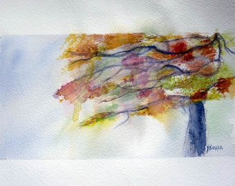 the tree echevele original watercolor painting