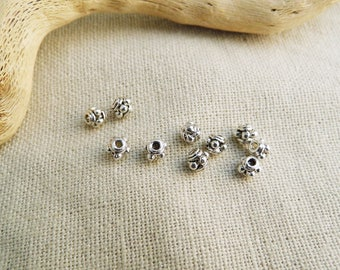 50 small spacer beads wheel 3 mm silver A22208