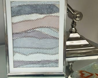 Framed handmade textile picture/shades of blue,grey and purple