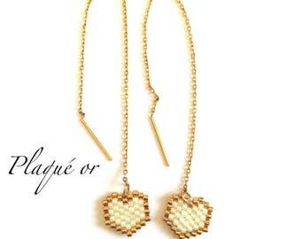On chain earrings - weaving beads miyuki - heart.