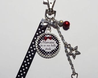 """""""Keychain / bag GODMOTHER"""" Godmother you are my stars """"/ personalized/gift"""