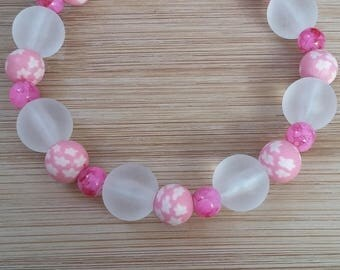 Polymer clay, pink glass bracelet