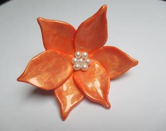 Handmade polymer clay and vernieet painted flower bead