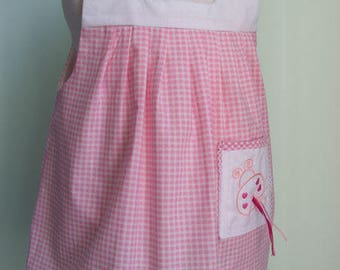 Pink gingham dress with butterfly