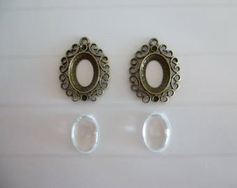 Set of 2 brackets cabochon cameo 13x18mm + 2 glass cabochons