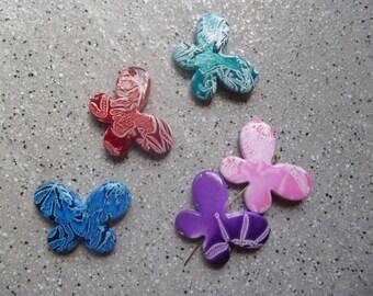 5 beautiful beads multicolored butterflies in resin