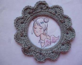Handmade crocheted cotton grey round frame