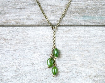 Natural gemstones necklace, Tsavorite (green garnet) beads on bronze - semi precious stones necklace - green necklace chain
