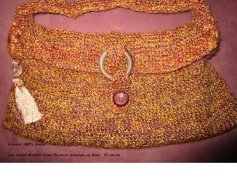 Heather Brown knitted bag
