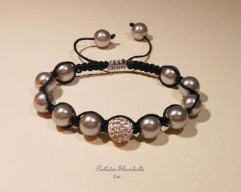 shamballa bracelet pearls and Crystal rhinestones