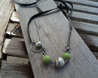 Necklace in inner tube recycled and chain with beads