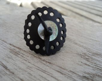 Round ring in inner tube recycled and White Pearl button