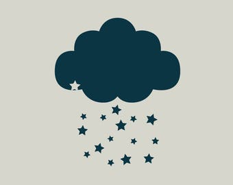 Cloud stencil. Stenciled stars (ref 470)