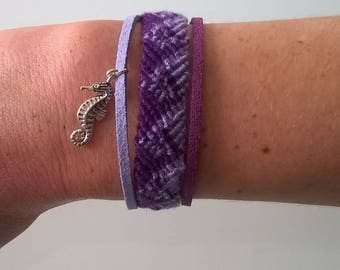 Friendship Bracelet and hand braided suede