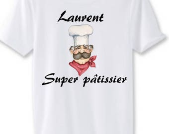Great Baker man white t-shirt personalized with name