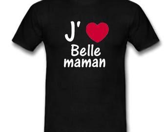 Black t-shirt I love beautiful MOM