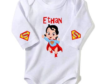 Super baby Brown Baby Bodysuit personalized with name