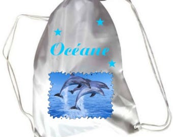 Dolphins swimming pool gym bag personalised with name