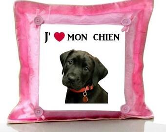 Pink Labrador cushion I love my dog