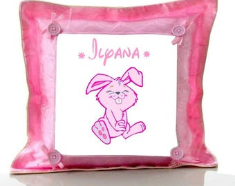 Cushion Pink Bunny personalized with name
