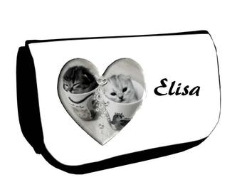 Cosmetic case Black kittens /crayons personalized with name