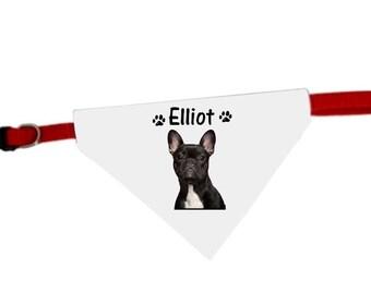 Necklace personalized with name french Bouldog dog bandana