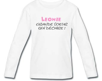 T-shirt girl long sleeve big sister that... personalized with name