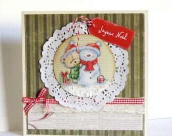 Merry Christmas greeting card, with bears, handmade