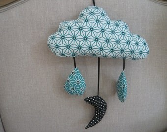 Japanese pattern teal and white cloud mobile