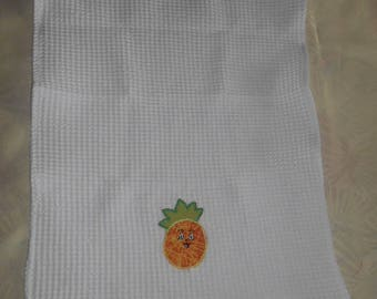 White honeycomb with pineapple motif towel hanging towel