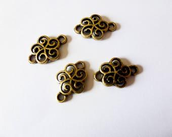20 * 13mm stylized flower bronze 4 connectors (FOCB01)