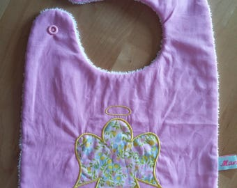Broadcloth appliqué and pink Liberty snap bib