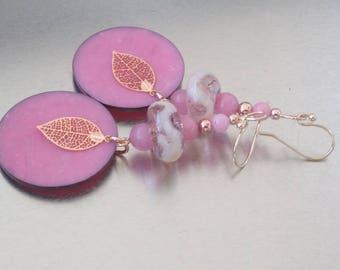 Earrings: pink - rose gold