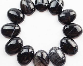 AGATE black ONYX: 1 cabochon stone natural 20 * 15mm
