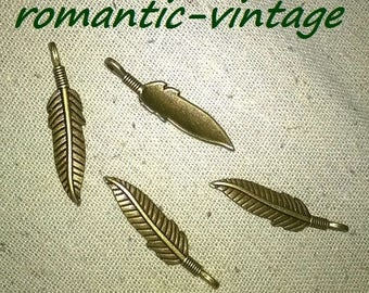 10 charms, feathers trend vintage charms, 37 * 8mm